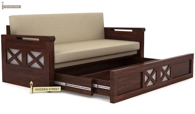 Medway Convertible Couch Walnut Finish Bangalore Chennai Coimbatore Delhi Faridabad