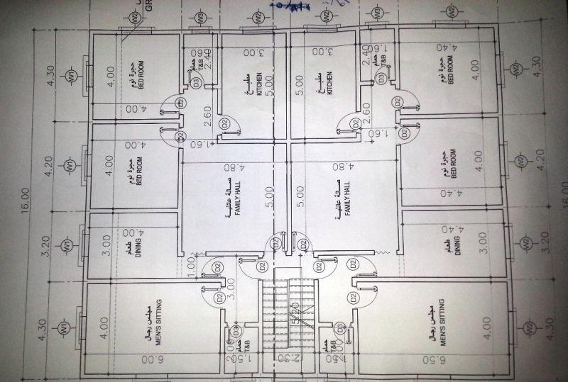 مخطط عماره شقتين ٤ غرف و صاله House Layout Plans Simple House Plans Architectural Design House Plans
