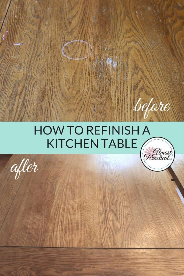 How To Stain A Wood Veneer Kitchen Table Top A Refinishing Diy Diy Table Top Diy Kitchen Table Kitchen Table Makeover