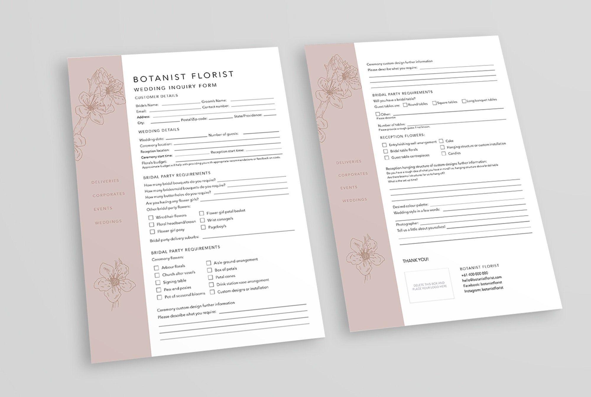 Florist Wedding Booking Form Florist Order Forms Wedding Order Forms Florist Templates Inquiry Form Wedding Order Wedding Book Florist Wedding flowers order form template