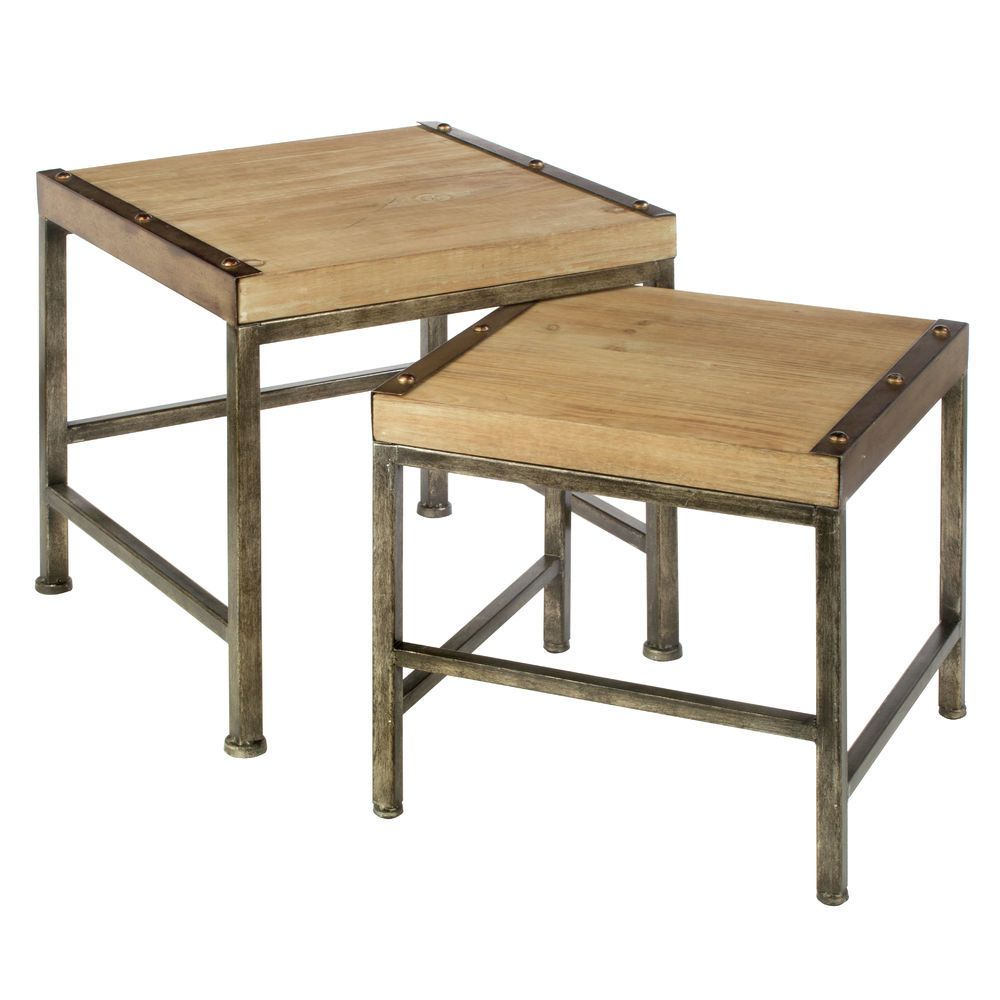 Set Of Two Mini Wood Nesting Tables With Metal Legs Wood Nesting Tables Nesting Tables Table