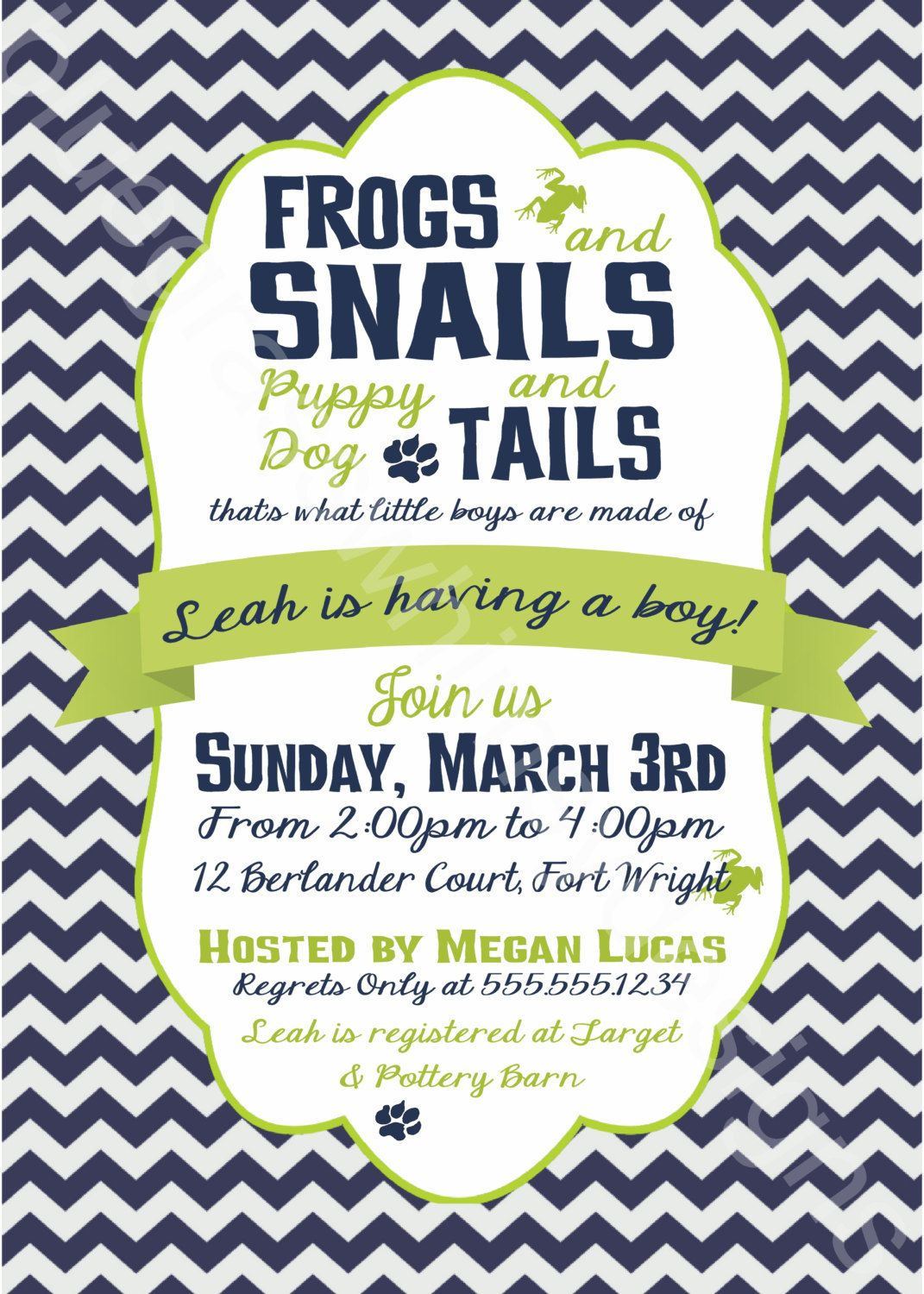 Frogs, Snails and Puppy Dog Tails Little Boy Baby Shower Invitation ...