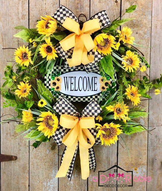 Photo of Sunflower Wreath for Front Door, Sunflower Welcome Wreath, Rustic Sunflower Decor, Sunflower Door Hanger, Summer Wreath for Front Door Large