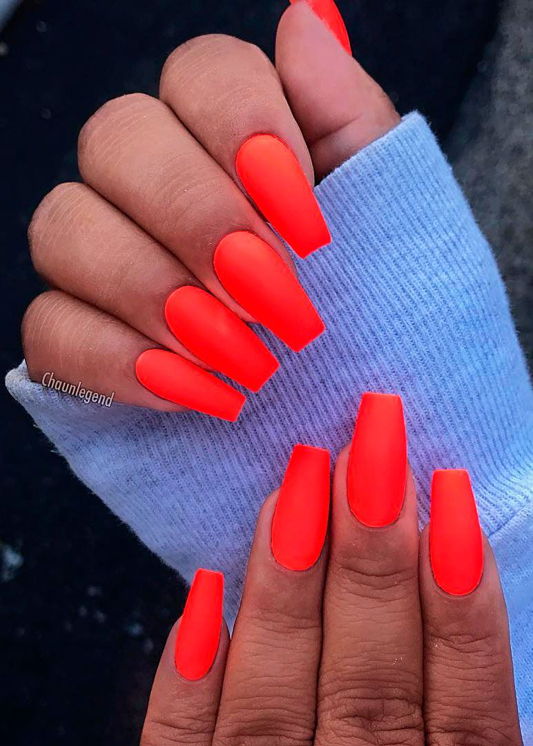 Awesome Orange Neon Coffin Nails For Summer Time In 2019