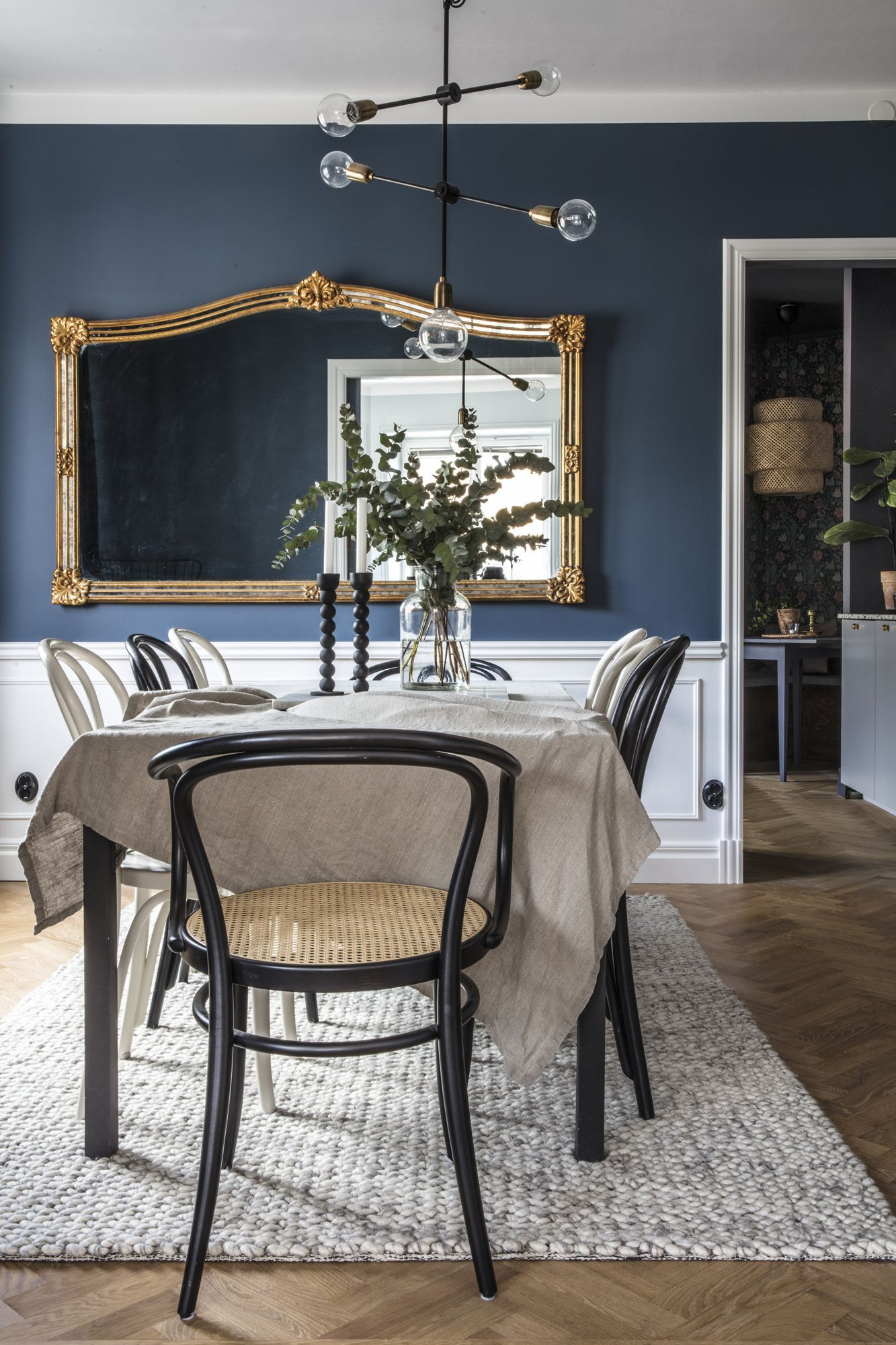 Femma Transformed With Fantastic Color In All Rooms And Ceilings And Safe Decor Ceilings Color Blue Dining Room Walls Mirror Dining Room Dining Room Blue