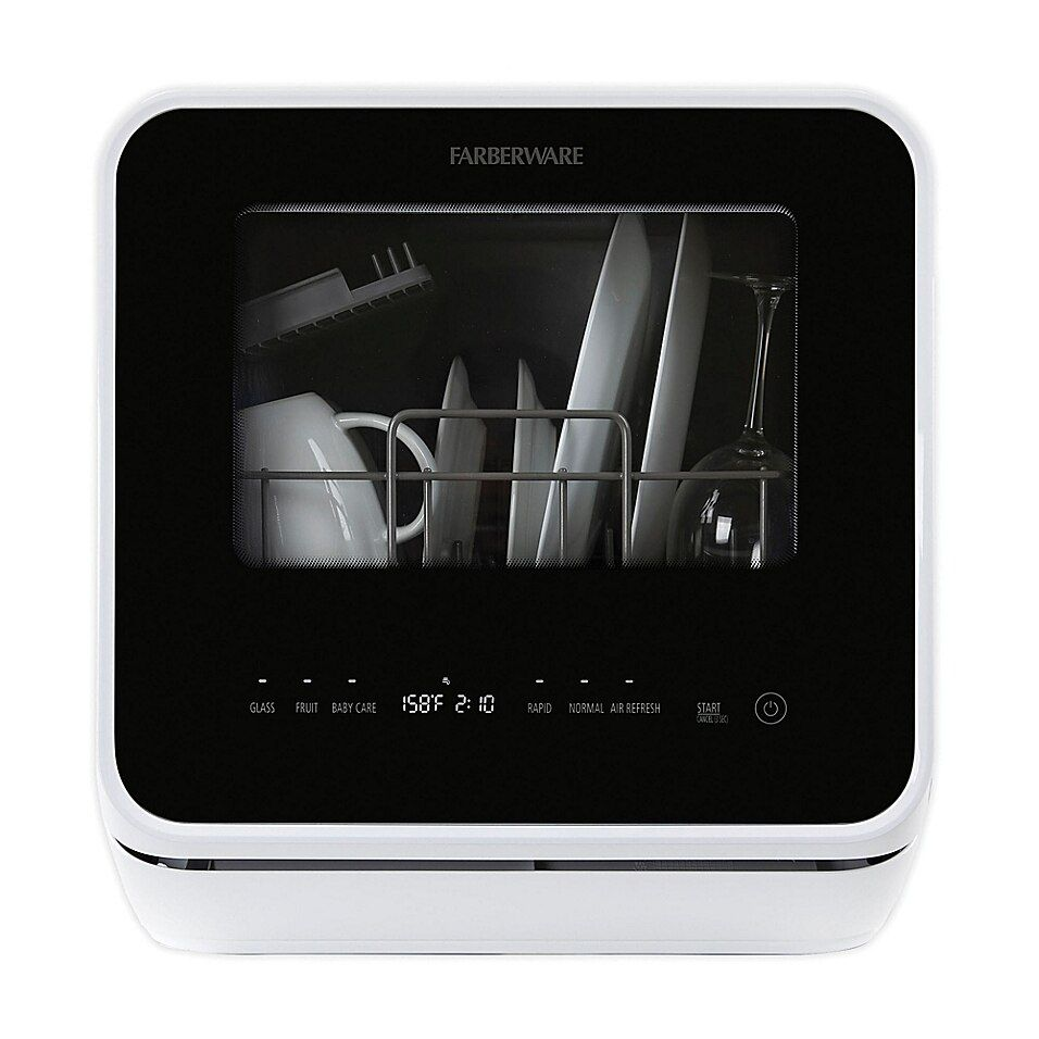 Farberware 16 5 Front Control Countertop Dishwasher In White In