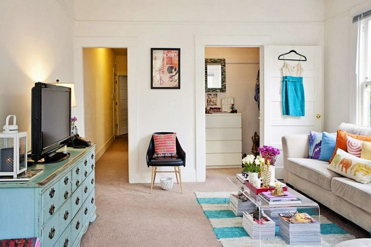 Small apartment idea. All white with pastel accent -my wife style