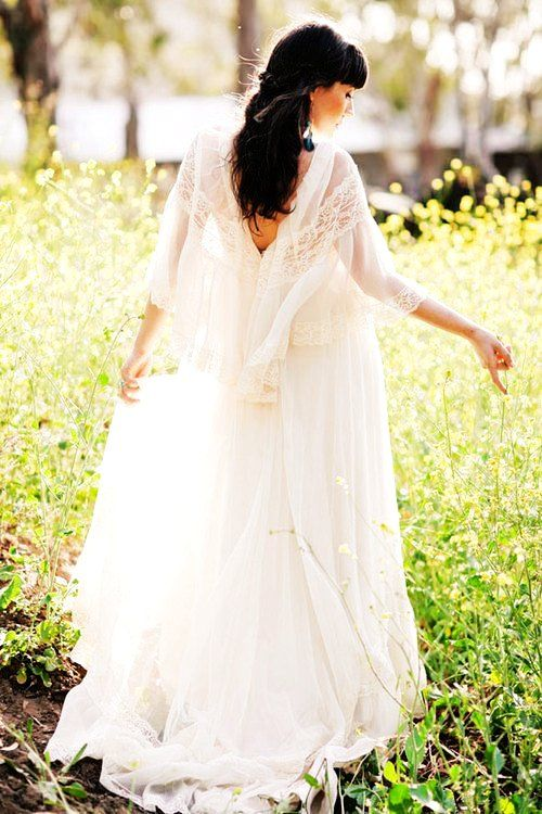 Hook Flower Bohemian Wedding Dress