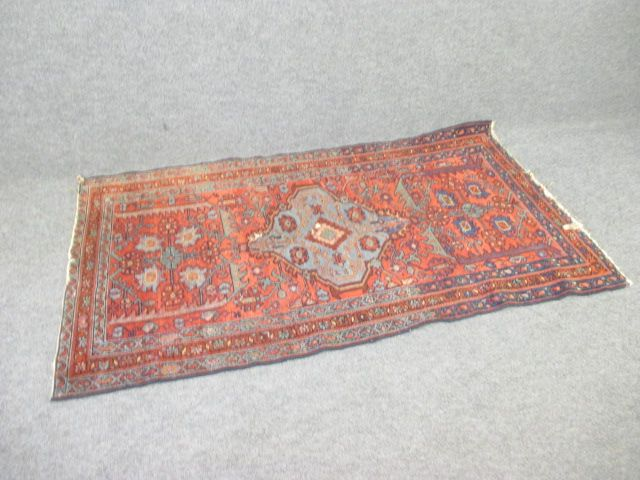 Persian Rug, Approx. 3' x 6', Red & Blue
