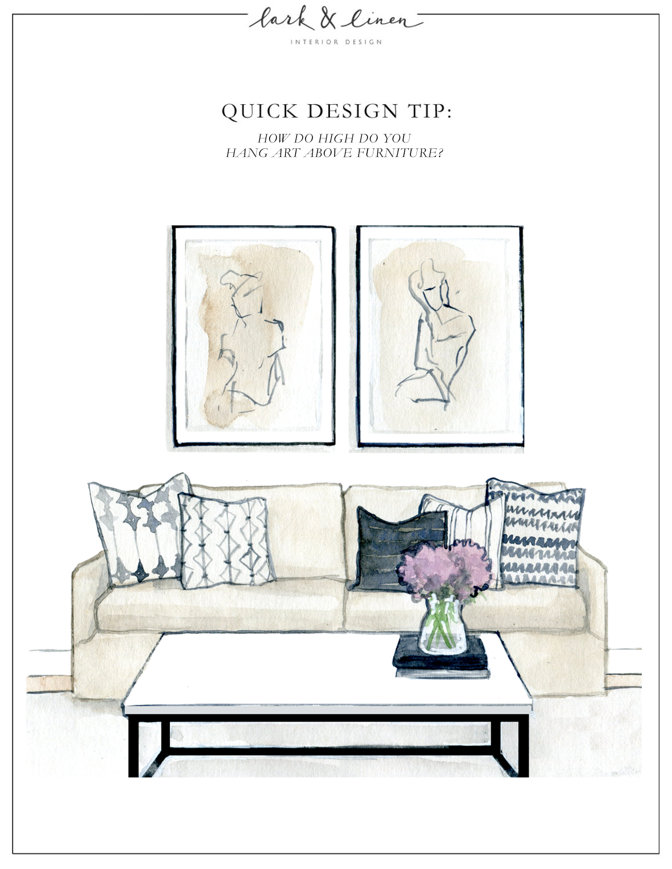 Quick Design Tip How High Do You Hang Art Above Furniture Lark Linen Hanging Wall Art Art Over Couch Hanging Art