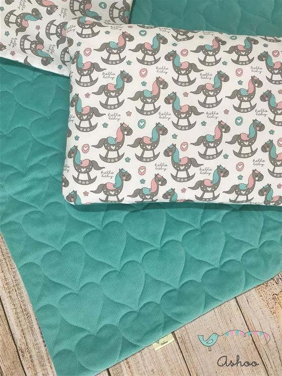 Baby blanket, velvet blanket and pillow set, rocking horse blanket, baby pillow, nursery bedding