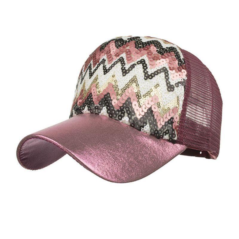 cd07c25be55d1 Fashion women ponytail baseball cap sequins shiny messy bun snapback hat  sun caps hip hop baseball caps d30 may7  cotton