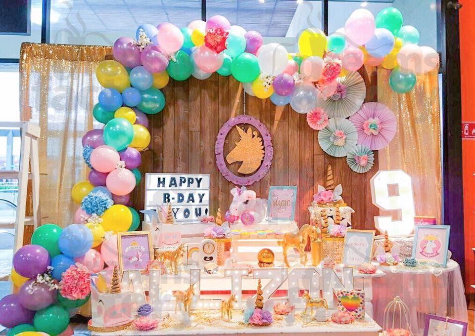 Decora con globos party unicornio arcoiris mesa de - Decora con globos ...