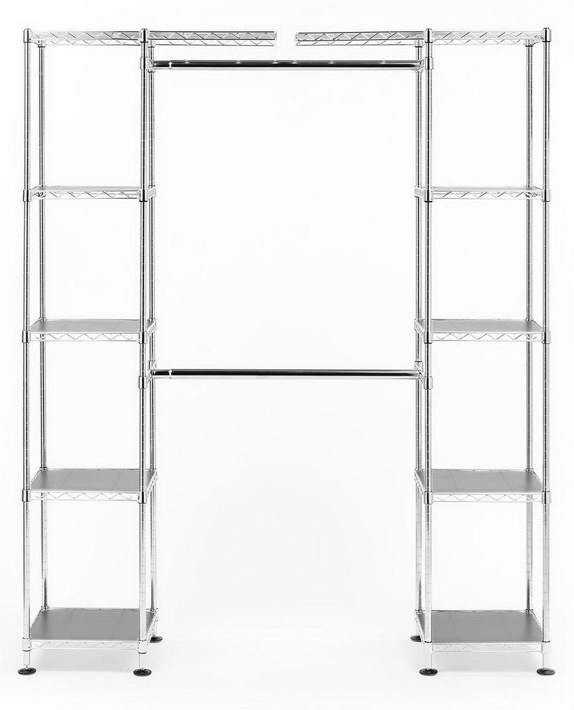 New Metal Closet Organizer Kit 12 Steel Shelves Adjustable Width Hanging Rods Sevilleclassics Closet Organization Room Organization Room Closet