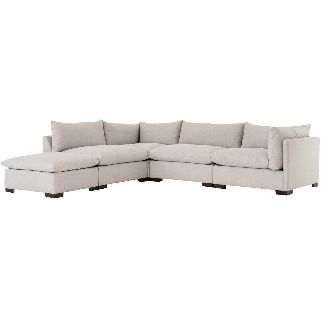 Westworld Modern Beige 5 Piece Modular Lounge Sectional Sofa