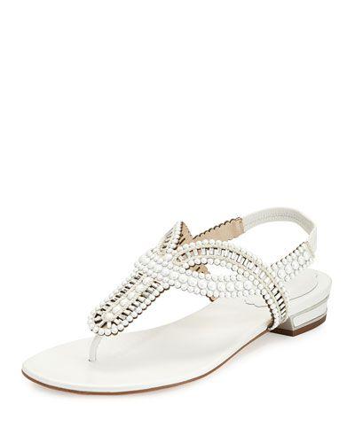 db5e6658f87f11 RENÉ CAOVILLA Pearly Crystal Flat Thong Sandal