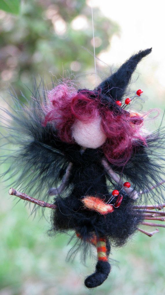 Halloween witch ornament on broomstick Needle felted ...