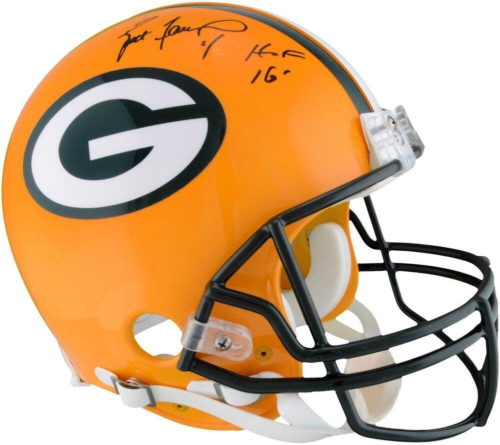 Brett Favre Gb Packers Autographed Pro Line Helmet W Hof 16 Insc Fanatics Football Helmets Nfl Football Helmets Mini Football Helmet