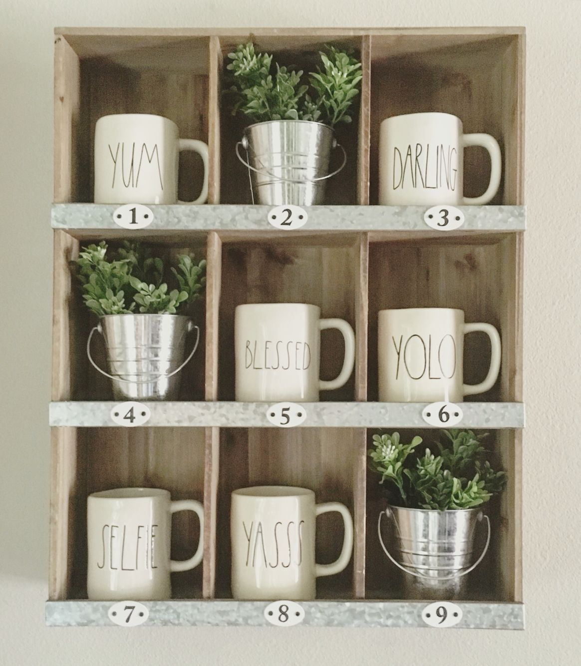 9 slot target cubby with rae dunn mugs farmhouse style