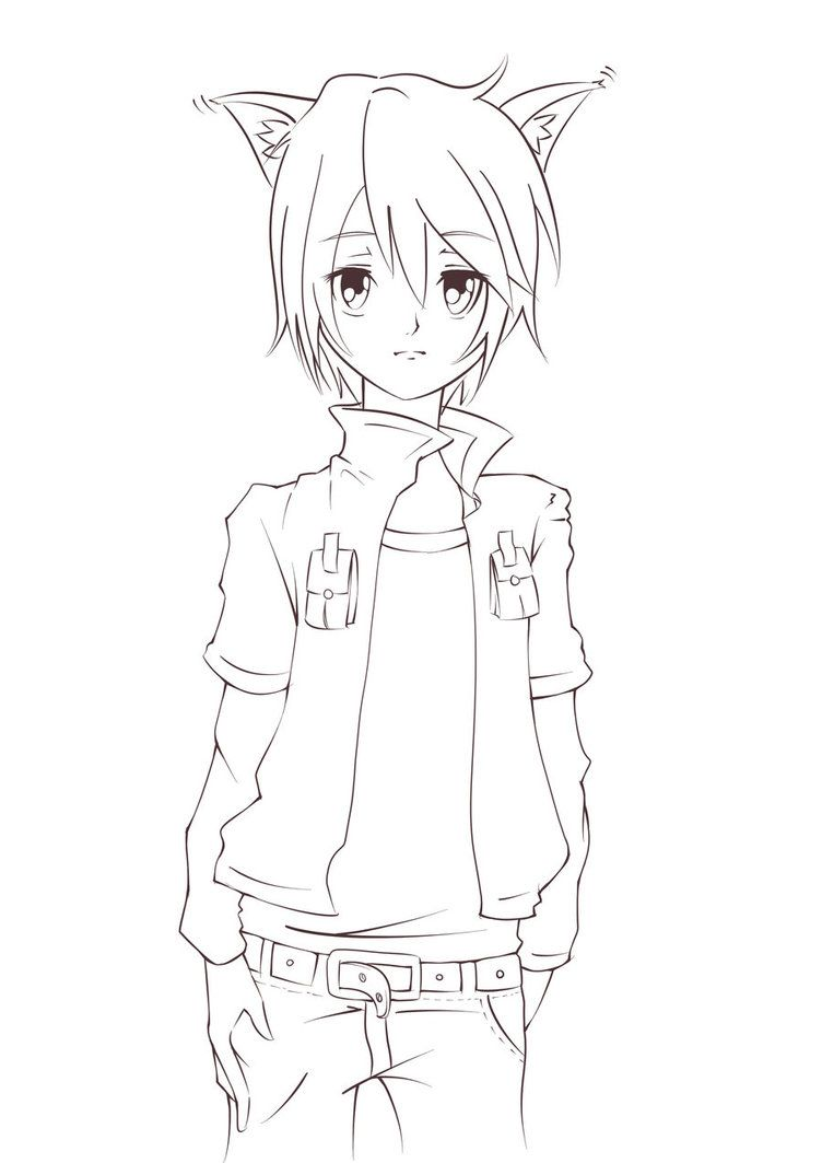 Wolf Boy Lineart Cute Anime Cat Anime Cat Ears Anime Drawings Boy