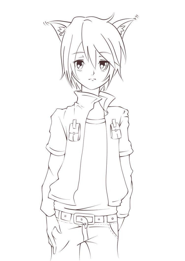 Wolf Anime Coloring Pages : anime, coloring, pages, Lineart, Anime,, Anime, Drawings