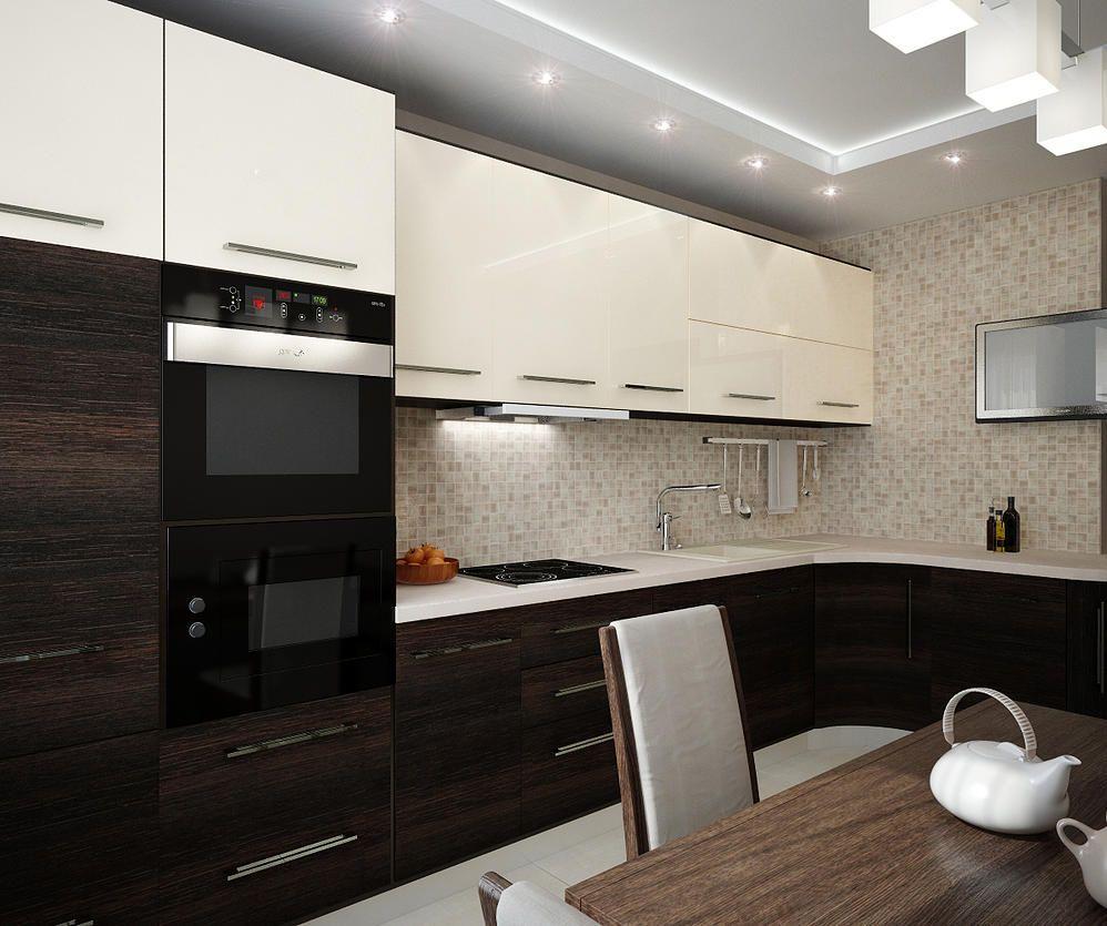 Дизайн кухни бело бордового цвета фото если