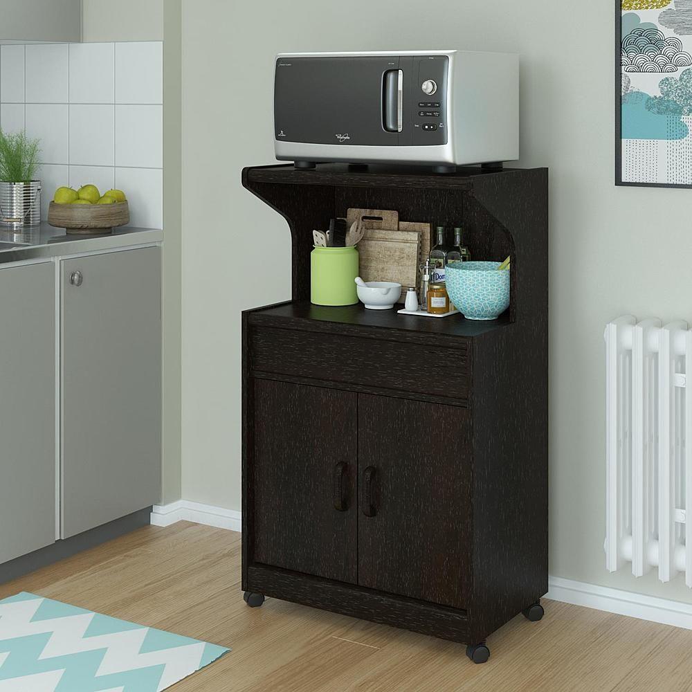 Dorel Home Furnishings Reggie Espresso Microwave Cart With Shelf
