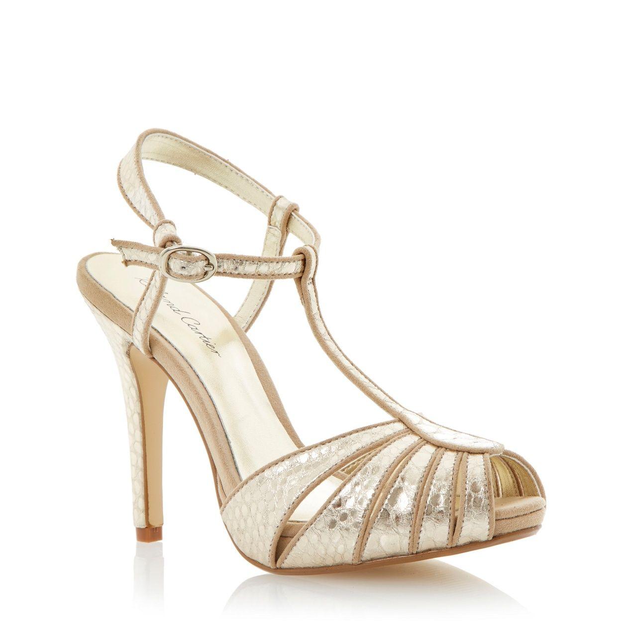 Gold t-bar platform sandal at debenhams