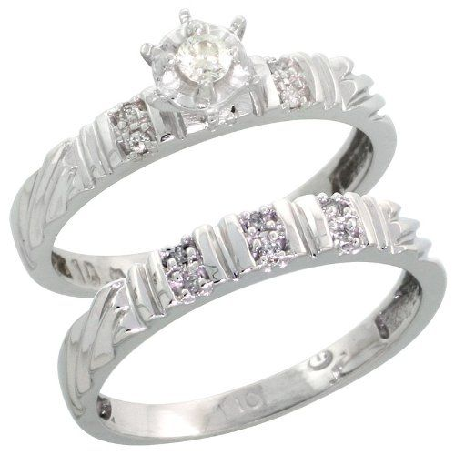 10k White Gold Las 2 Piece Diamond Engagement Wedding Ring Set Size 10 Rings For Women Pinterest And