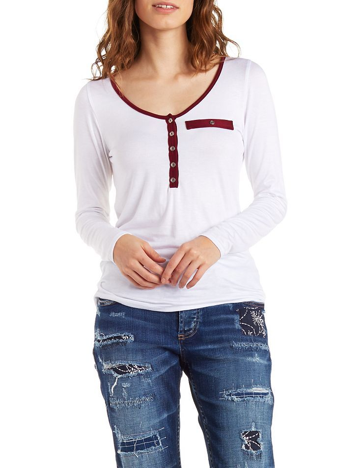 White Scoop Neck Henley Top by Charlotte Russe