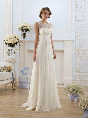 a78c0a9b11bf2 A-Line Princess Scoop Sleeveless Sweep Brush Train Beading Chiffon Wedding  Dresses