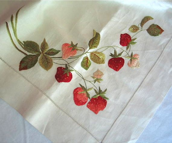 Society silk embroidered tablecloth in linen emboridery