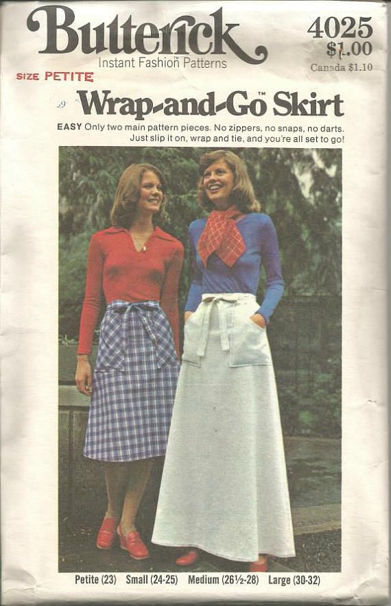 1976 BUTTERICK #4025 LADIES WRAP-AND-GO TWO LENGTH SKIRT PATTERN   SM or MED