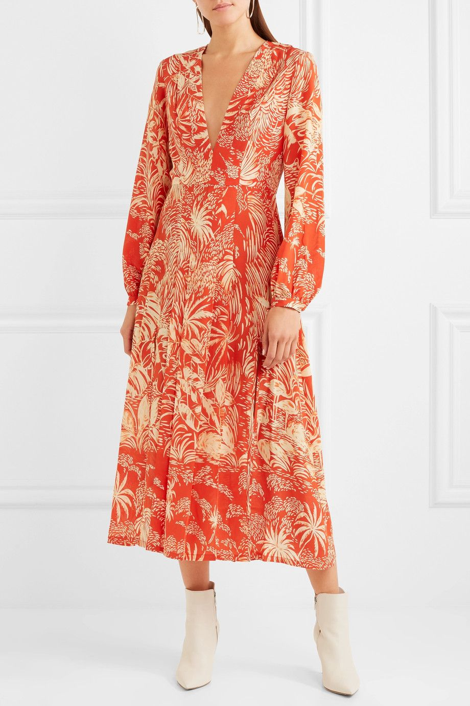 RIXO London | Camellia pleated printed silk crepe de chine midi dress |  NET-A-PORTER.COM