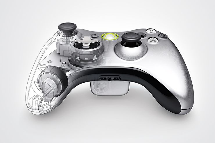 Xbox 360 Controller Wireframe Plastic Gray Industrial Design