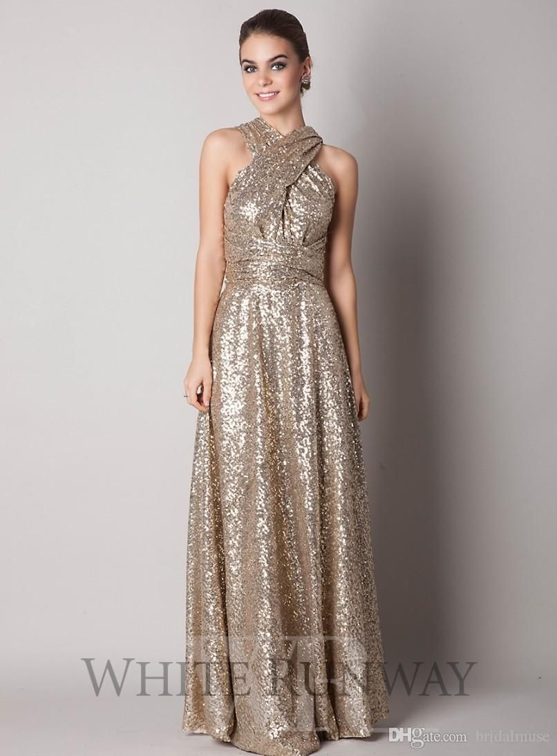 c17b0c115e4 Convertible Style Gold Sequins Bridesmaid Dresses Long 2016 Plus Size  Maternity Long Floor Length A Line Custom Made Maid Of Honor