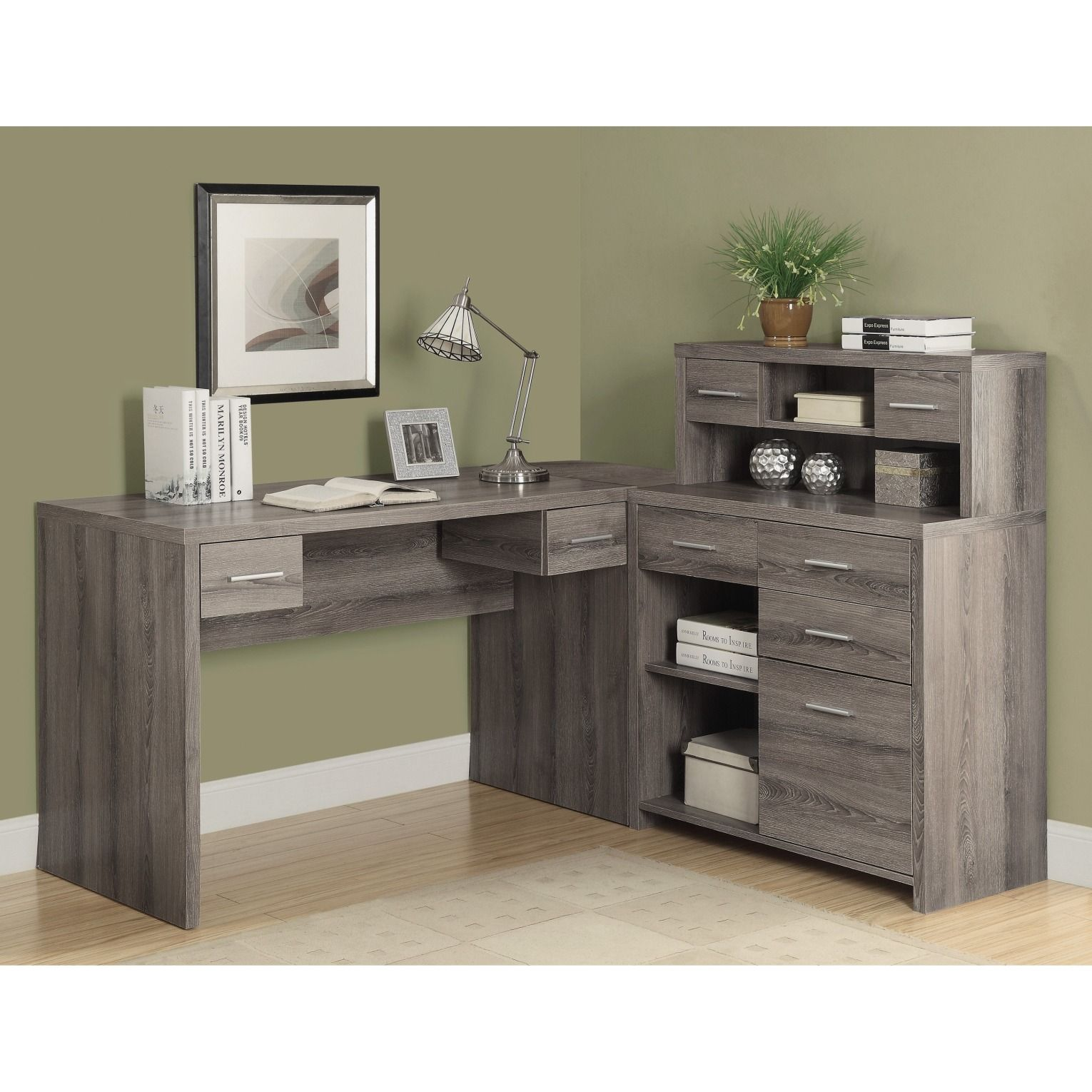 Smart storage and contemporary style, this Lshaped desk