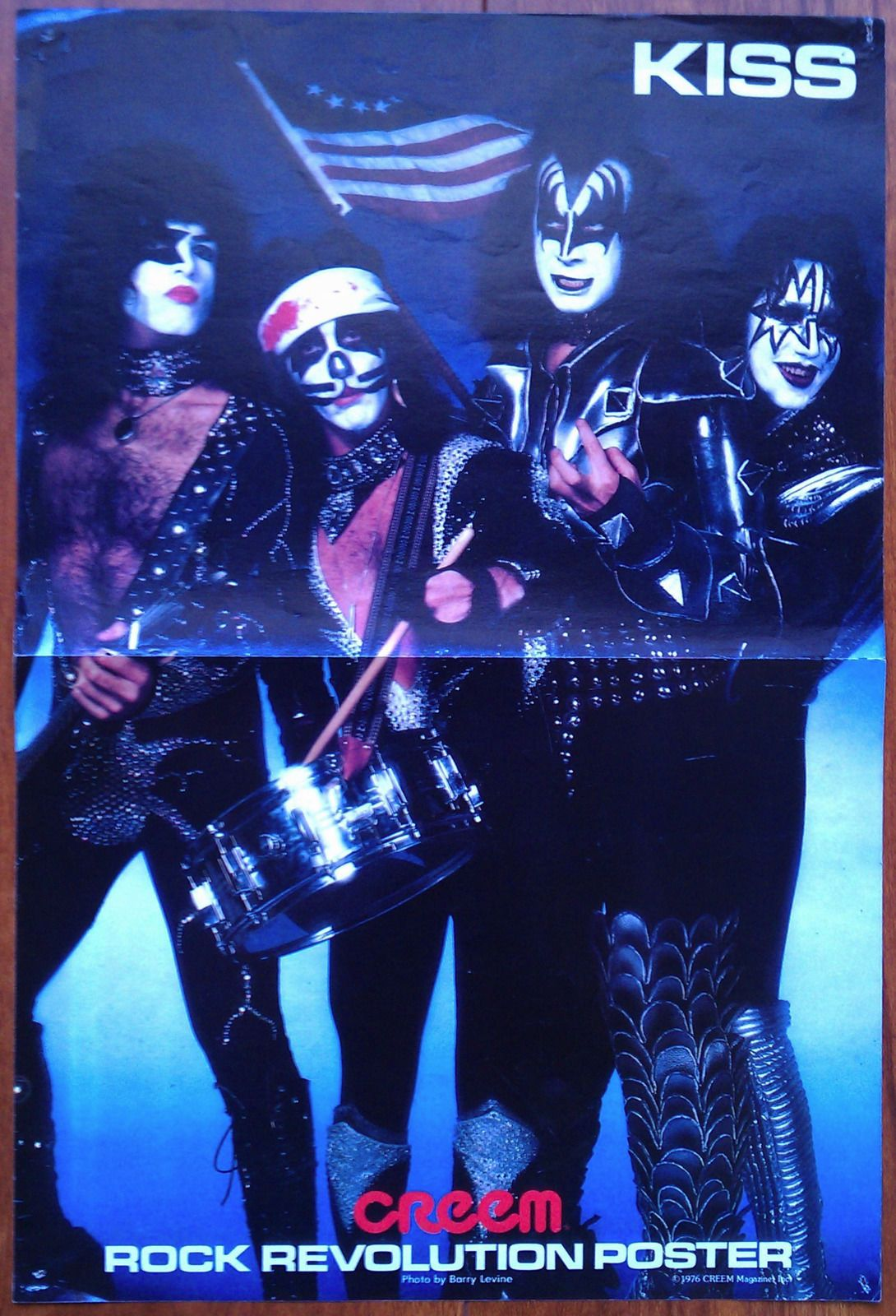 Kiss Creem Magazine Color Poster Two Sided 1976 1977 Gene Paul