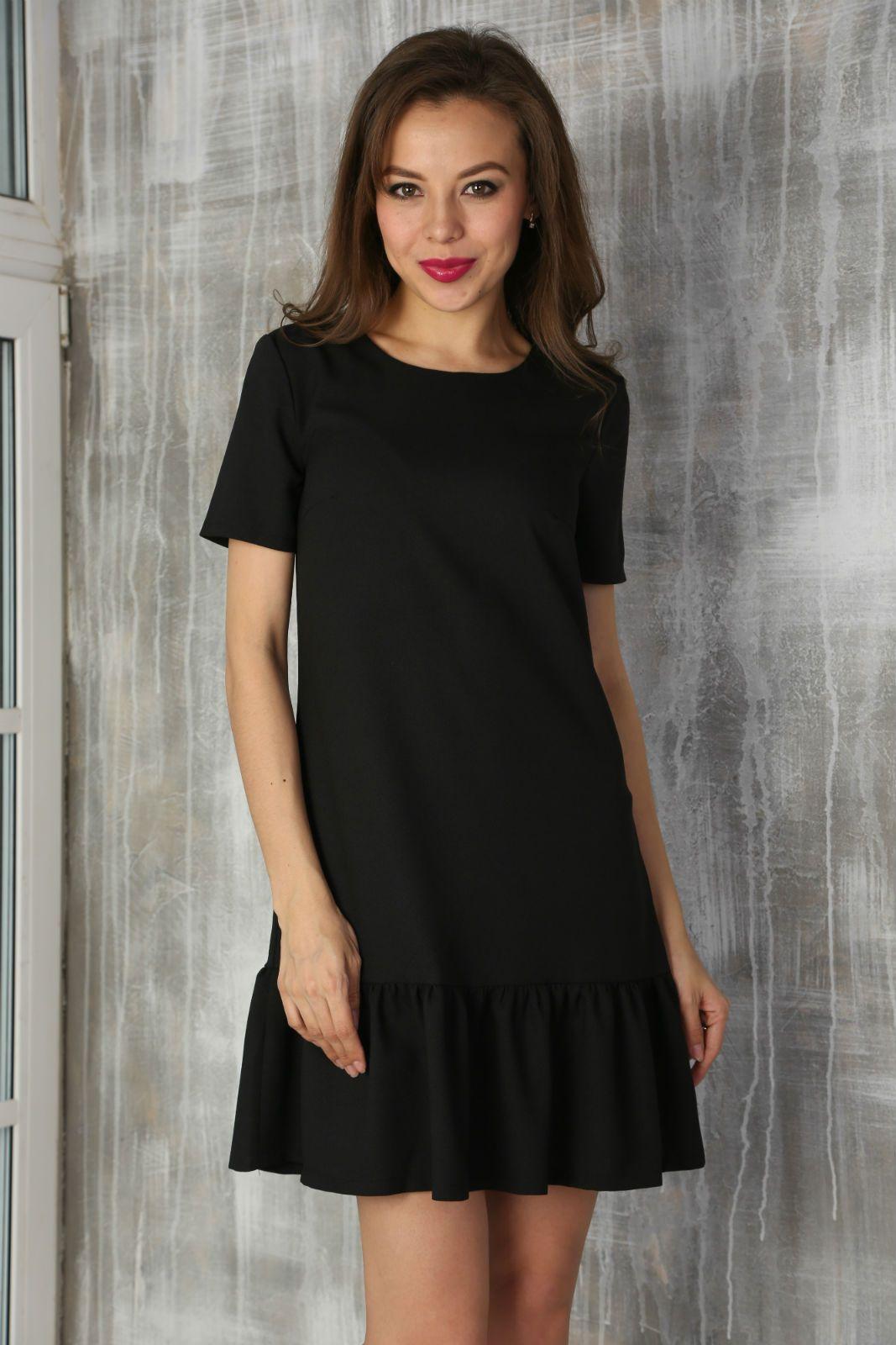 Черное мини короткое платье