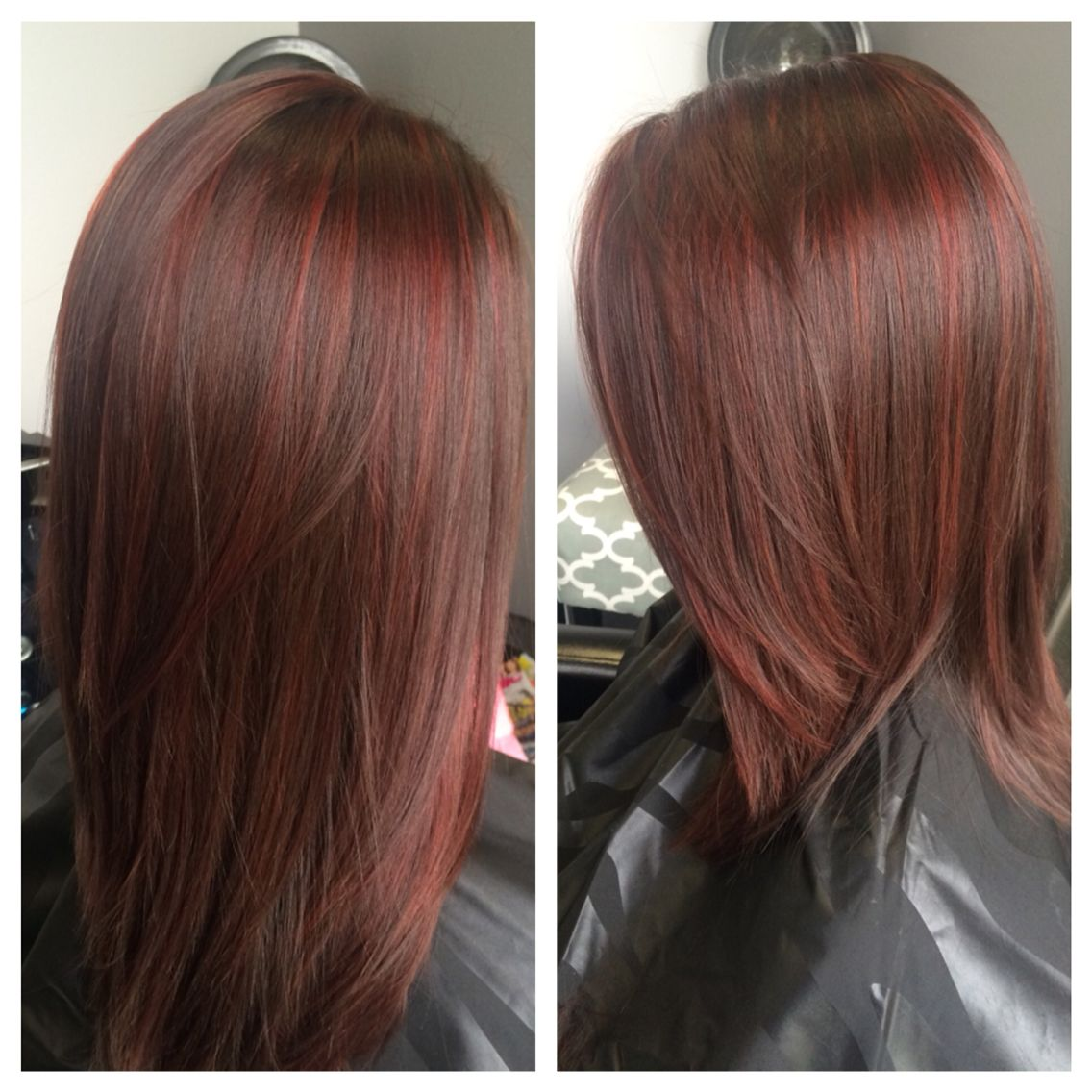 Red lowlights with brown between the foils! | Hair Colors ...