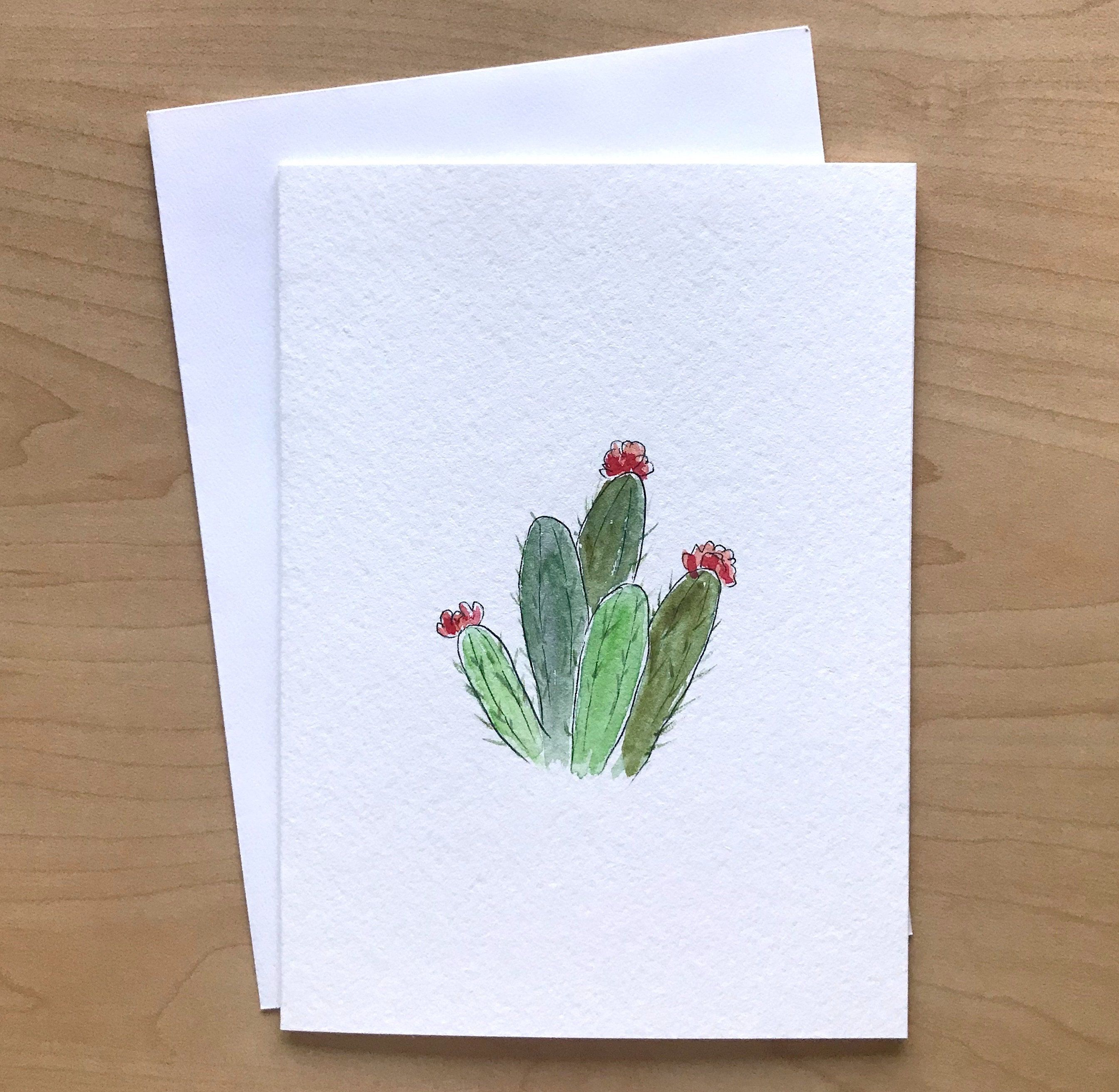 Hand Painted Watercolor Card Original Art Watercolor Cactus