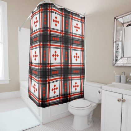 Preppy Plaid in Black, Red and White Shower Curtain   White shower