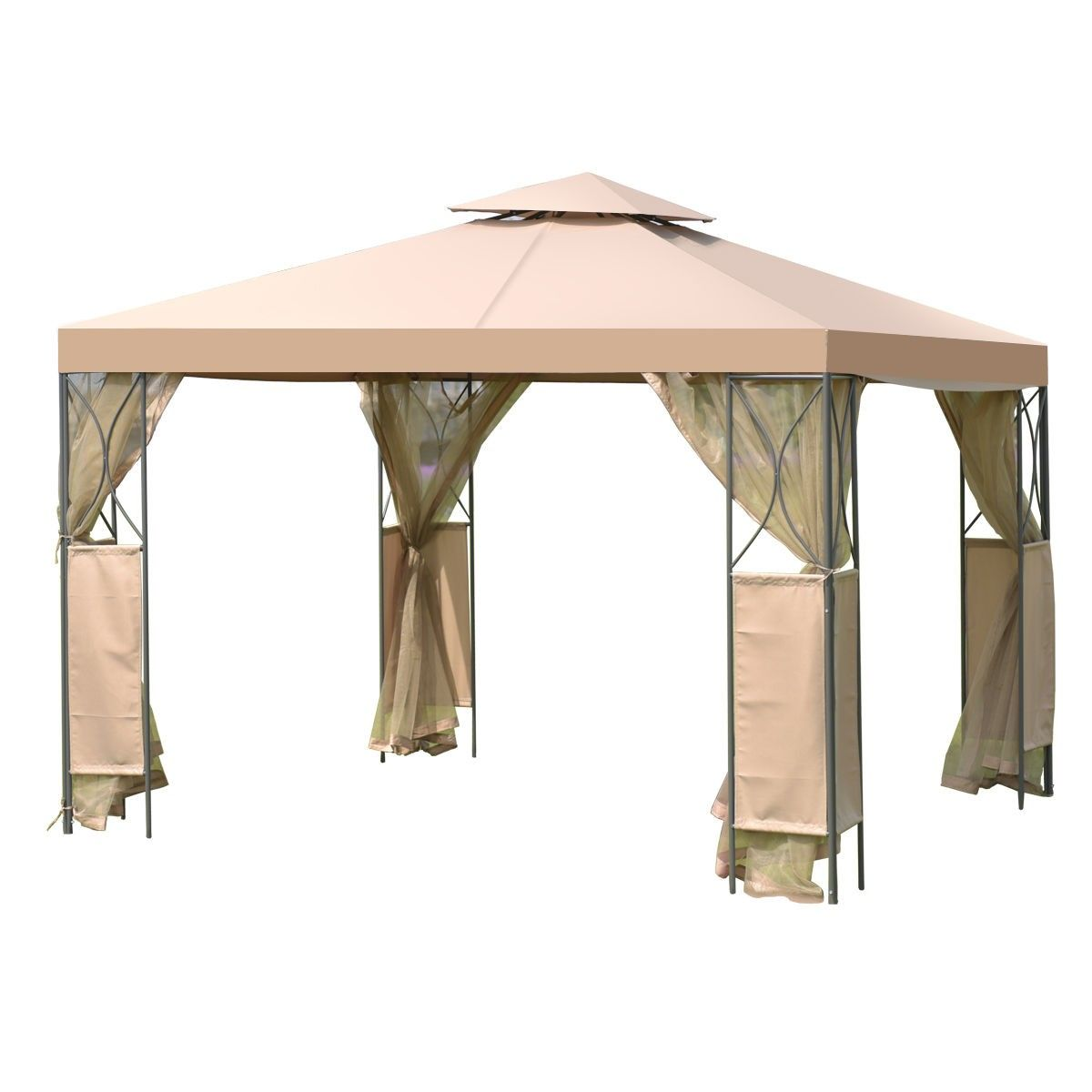2 Tier 10 X 10 Patio Steel Gazebo Canopy Shelter 144 95 Free Shipping Material Steel And 180g Waterproof Polyester Fabr Gazebo Canopy Steel Gazebo Gazebo