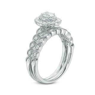 9910c7edeaaf8c T.W. Oval Diamond Double Frame Twist Vintage-Style Bridal Set in 14K White  Gold | Engagement Rings | Wedding | Zales
