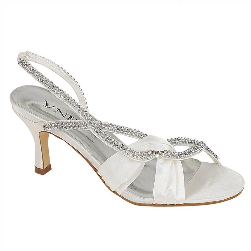 LADIES LOW HEEL SLINGBACK DIAMANTE IVORY SATIN BRIDAL