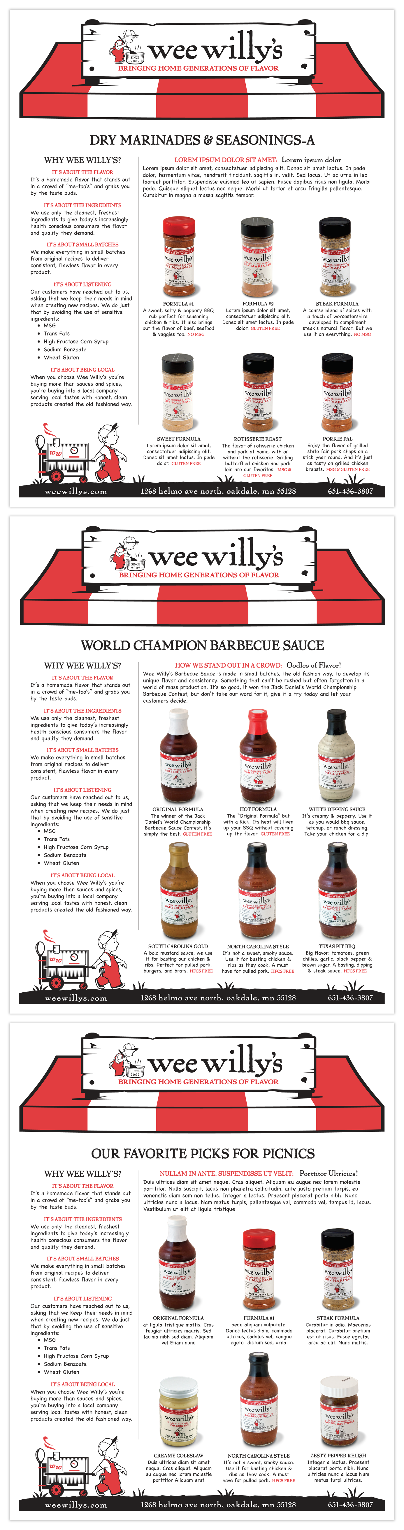 Marinades, Seasoning and Sauces Product Sheet - Sell Sheets, Retail | Team: Colin Hooker, creative director; Andrzej Zalasinski, designer, product photography; Joel Dexter, digital imaging | Agency: Hooker and Company | Client: Wee Willy's