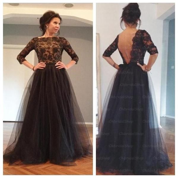 Black Prom Dress, Lace Prom Dress, Long Sleeves Prom Dress, Backless ...