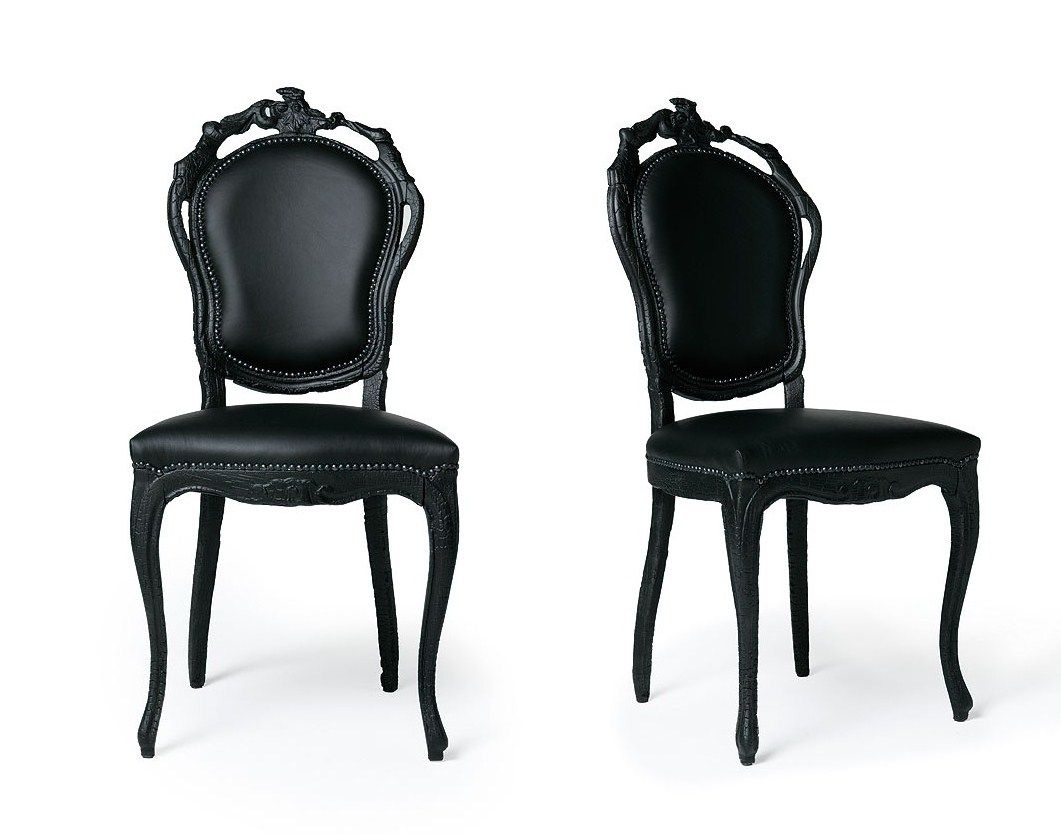French Italian Painted Chairs Black Leather chairs