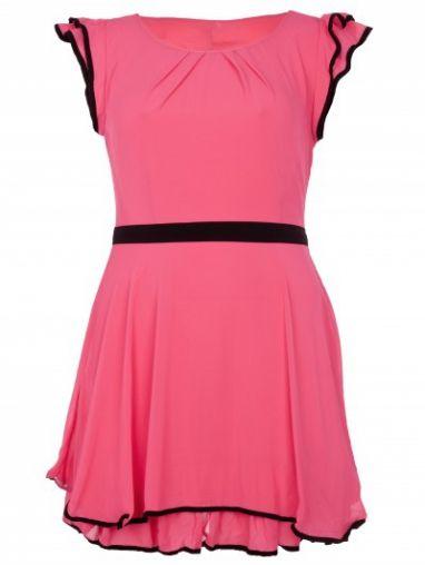 Cerise Frill Tie Back Chiffon Animal Dress by Desireclothing on CurvyMarket.com Plus Size