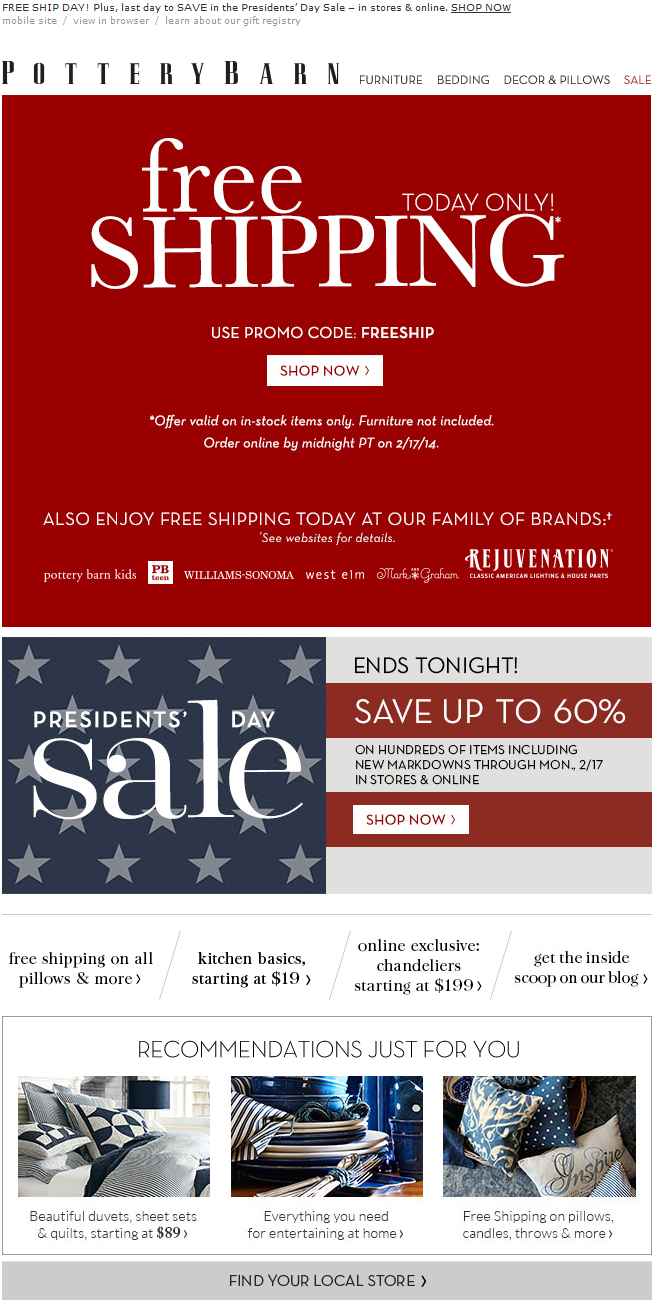 ed3ccaf251fd Pottery Barn - free shipping post card and Presidents Day banner with star  spangled banner theme
